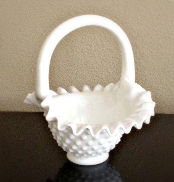 Vintage Fenton White Hobnail Milk Glass Basket By Midwestmilkglass Milk Glass Fenton Milk Glass Antique Glass