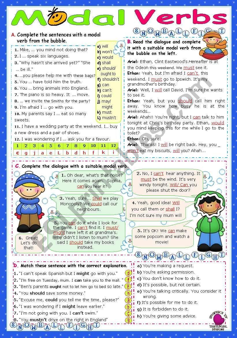Modal Verbs (1) worksheet Ingles