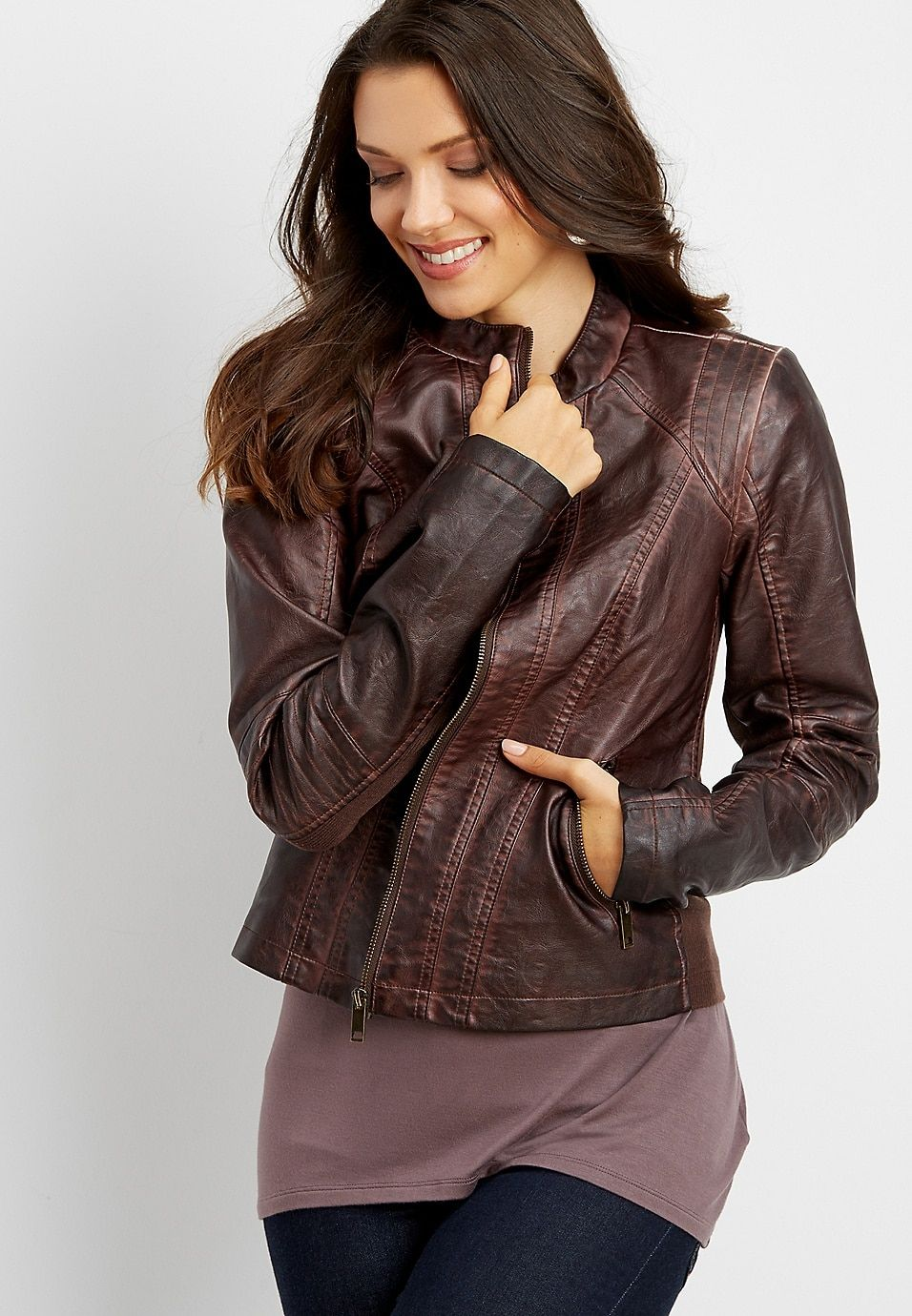 faux leather brown jacket maurices Large Brown