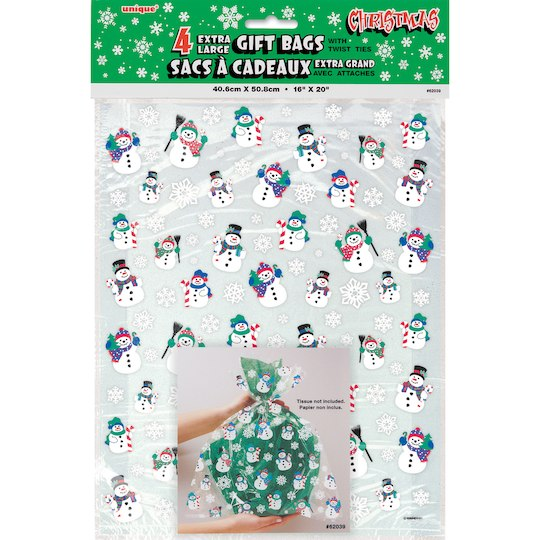 Large Snowman Holiday Cellophane Bags 4ct Cellophane Gift