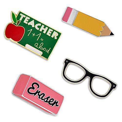 PinMart School Rules Pencil Eraser Glasses Teacher Enamel