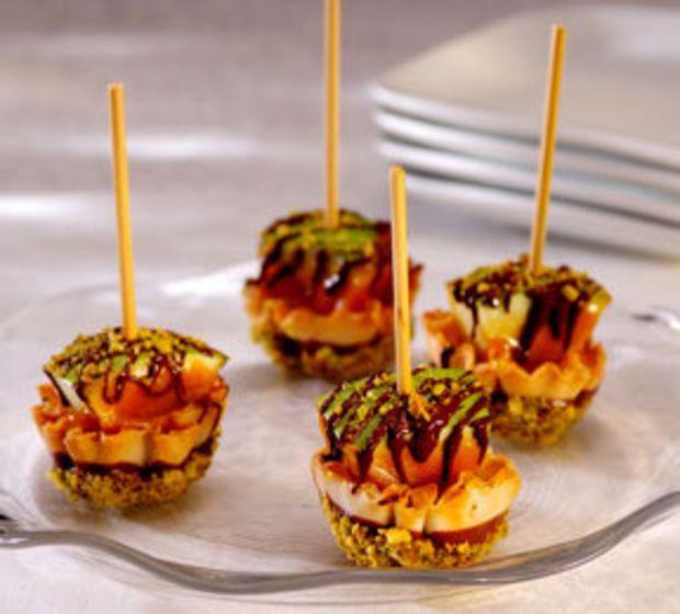 mini caramel apple phyllo cups for an elegant halloween party recipe - Caramel Apple Ideas Halloween