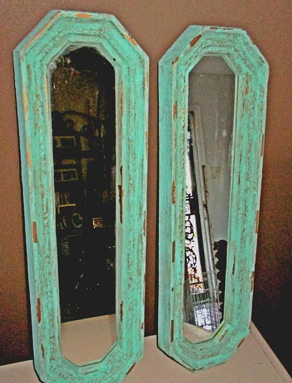 Pair Wall Mirrors Long Skinny Mirrors Upcycled Vintage Skinny