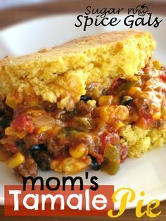 Spice Gals: Mom's Tamale Pie _ I was looking through some old recipes the other day and I came upon another recipe that my mom had written years ago.  It was for Tamale Pie.  I remember my mom serving this quite often as we were growing up and how delicious it was.