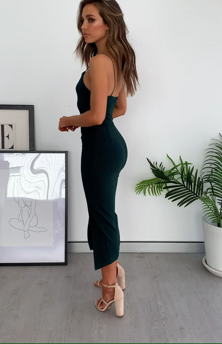 Cecilia Bodycon Midi Dress Emerald