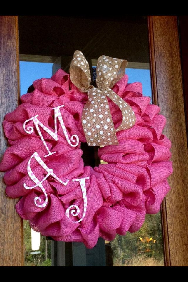 Pink Burlap Monogram Wreath  Perfect for Baby by Frontdoorshowcase, $60.00