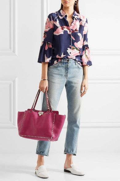 Valentino - The Rockstud Medium Textured-leather Tote - Pink - one size