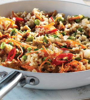 Kimchi Fried Rice with Tempeh (leave out the eggs to make it vegan)