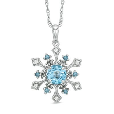 Blue Topaz and Lab-Created White Sapphire Snowflake