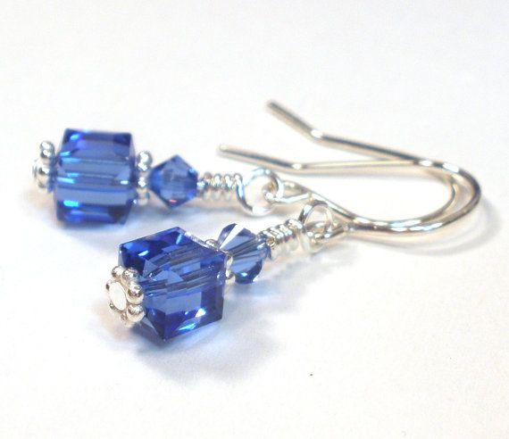 September Birthstone Earrings - Sapphire Blue Crystal Sterling Silver on Etsy, $13.00