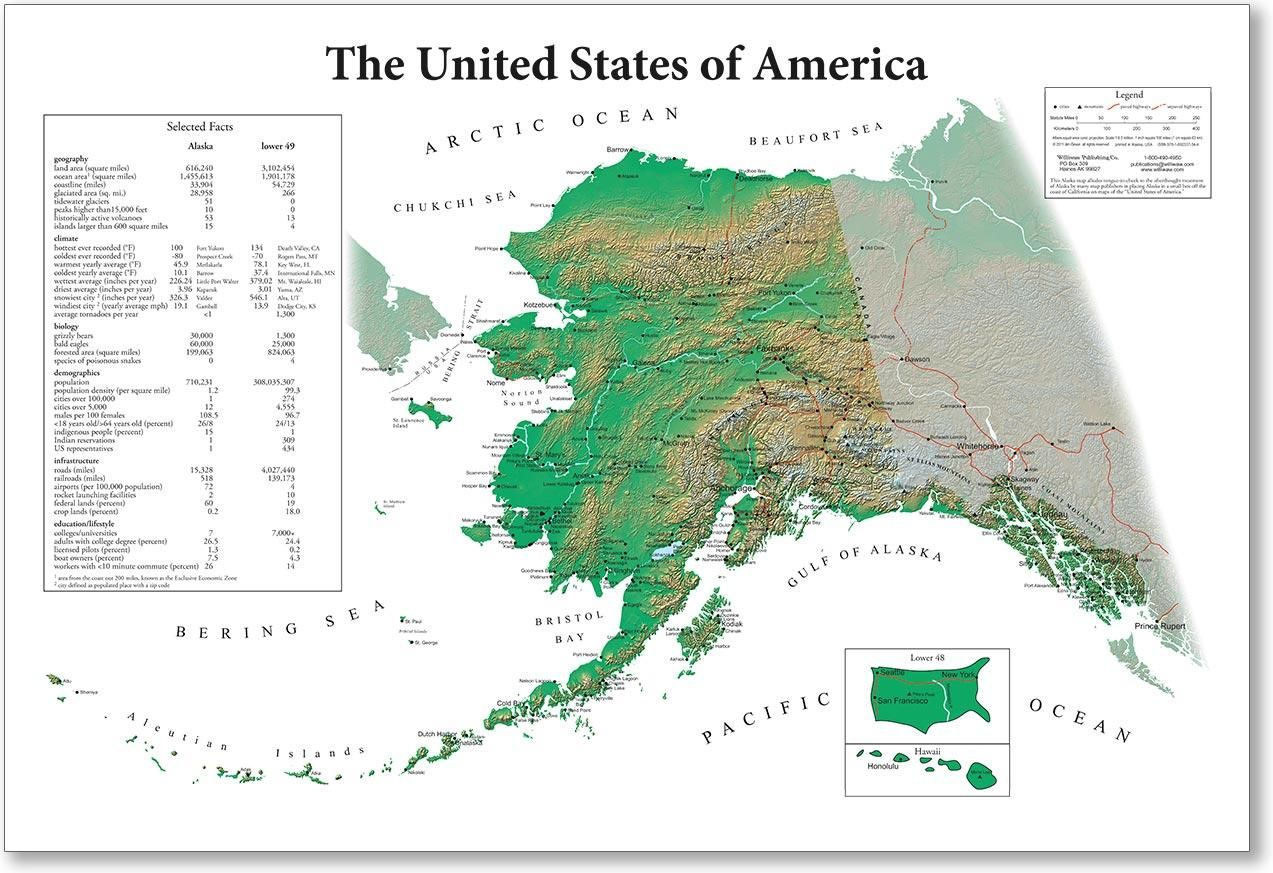 Tongueincheek Alaska map with the Lower 48 as an inset by