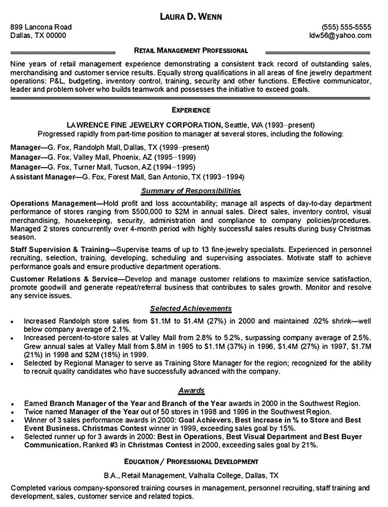 resume summary examples corporate