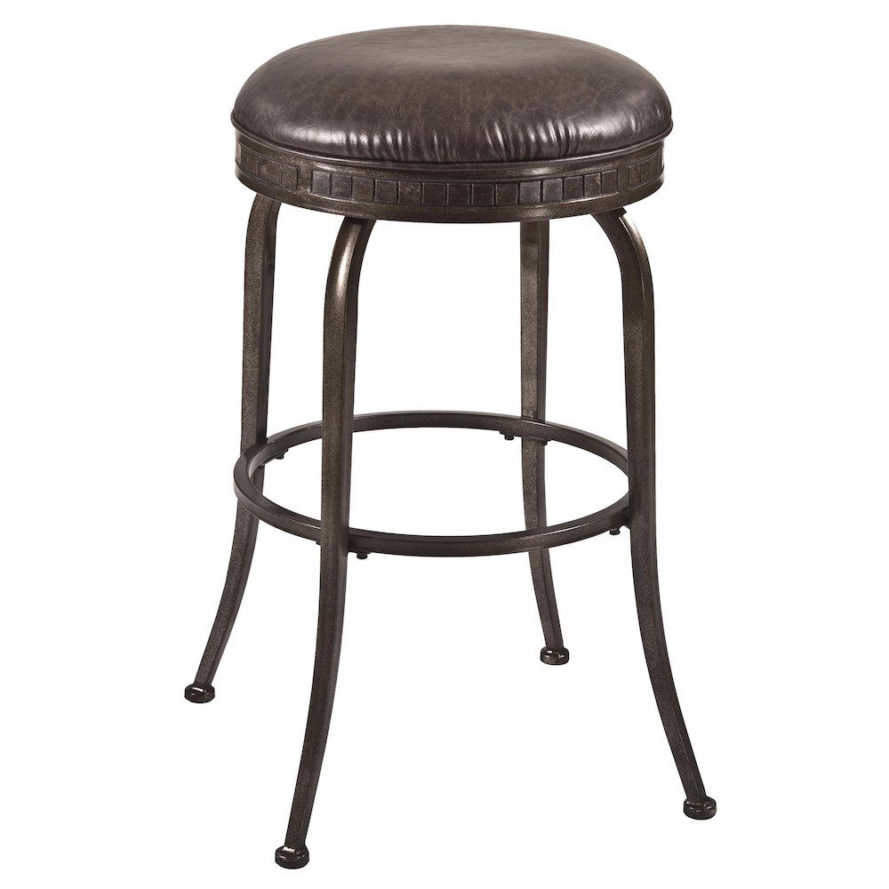 Harper Backless Swivel Counter Stool , Weathered Pewter