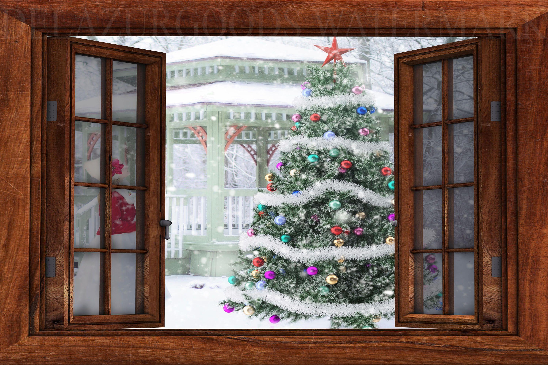 Xmas Tree Window View Wallpaper Peel And Stick Etsy View Wallpaper Window View Removable Wall Murals