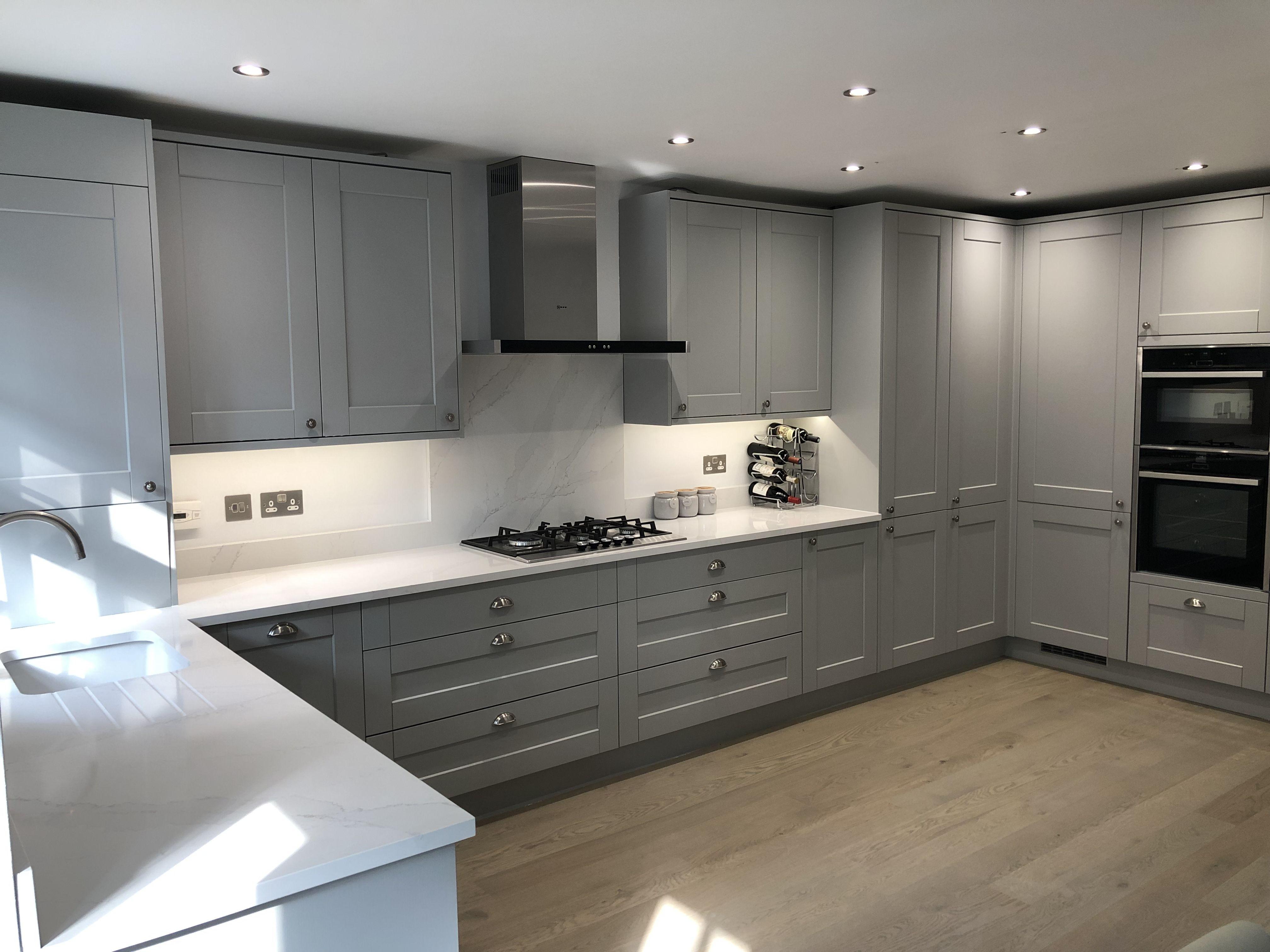 Howdens Fairford Grey Kitchen Silestone Quartz Worktops Howdens Kitchens Kitchen Decor Modern Kitchen Worktop
