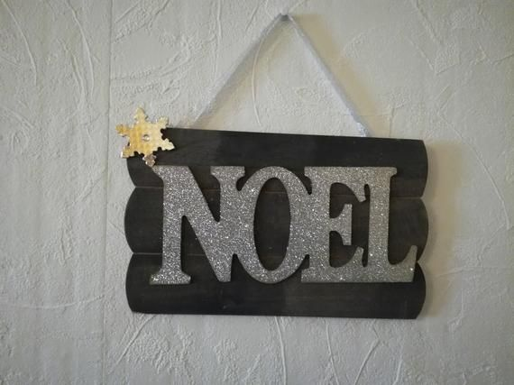 Christmas Wall hanger Hanging NOEL Sign Wooden Sign Silver Grey Snowflake Glitter #hangersnowflake
