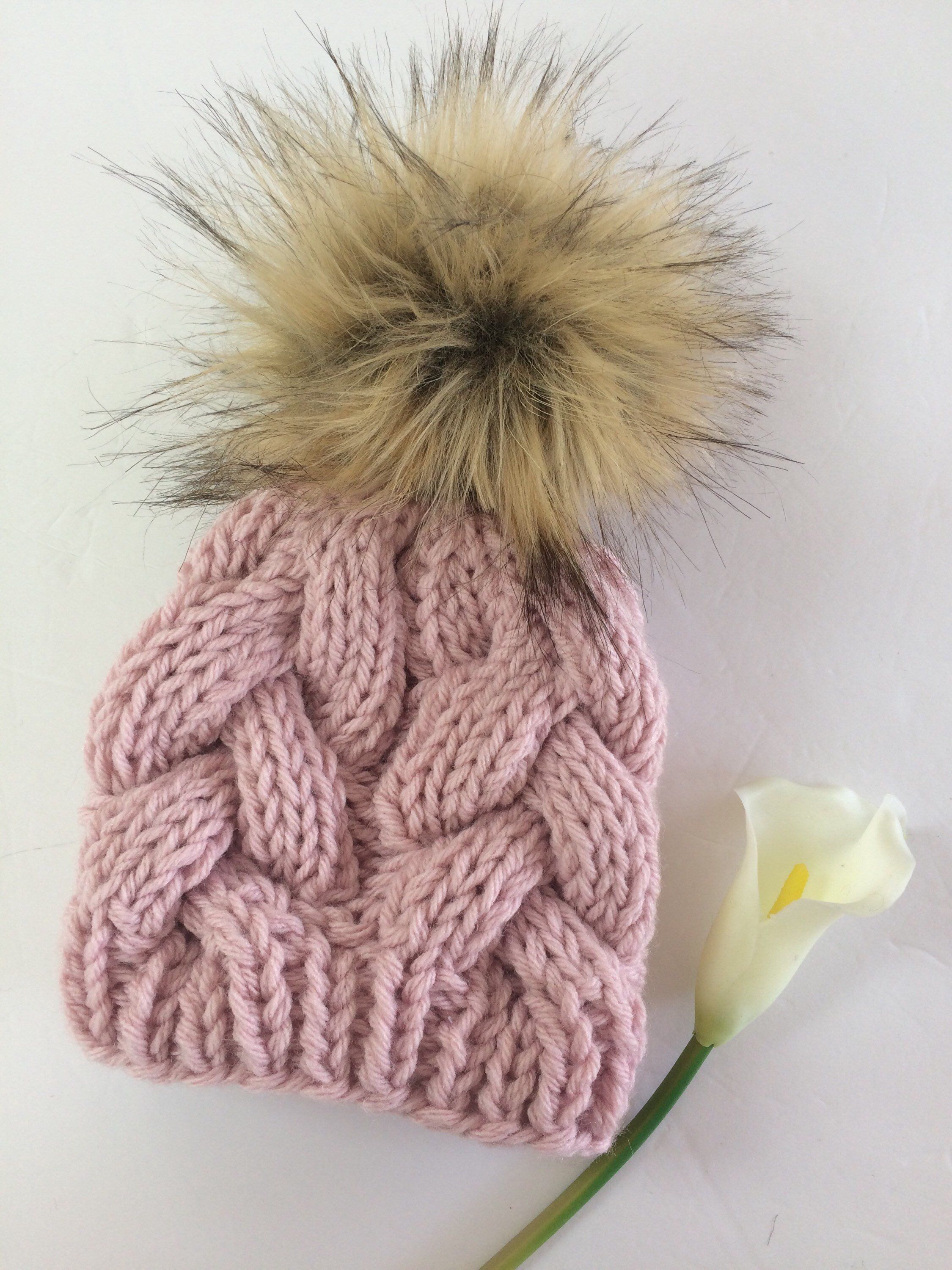 20c47edbbf3 Knit Baby Girl Hat    Baby Cable Beanie    Girls Winter Hat    Faux ...