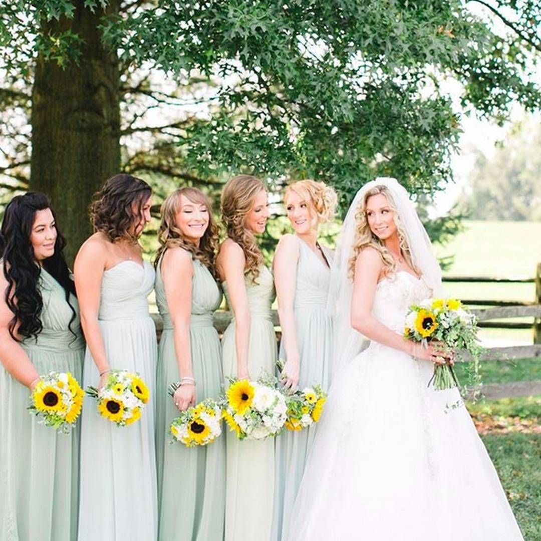 Gorgeous Ladies In Shades Of Mint Green Their Sunflower Bouquets Are The Perfect Tou Sage Green Bridesmaid Dress Sunflower Themed Wedding Wedding Mint Green [ 1080 x 1080 Pixel ]