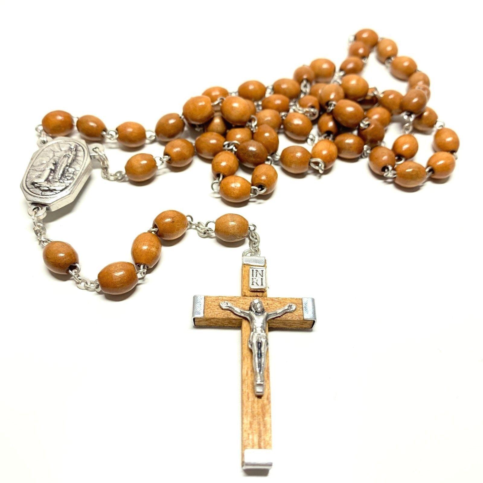 St Francis rosary beads medal pendant gold tone Catholic