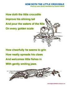 How Doth The Little Crocodile A Singable Poem From Wonderland