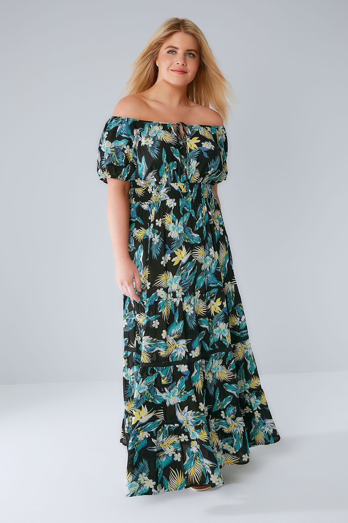 Tropical one shoulder dress plus size