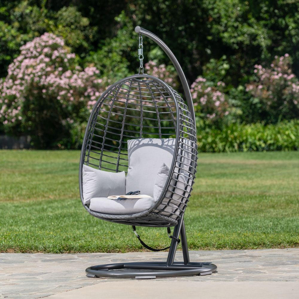 Hampton Bay Woven Egg Swing with Seat, Back, and Armrest