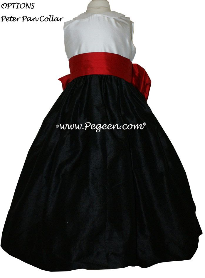 Red Flower And Black Silk With Peter Pan Collar