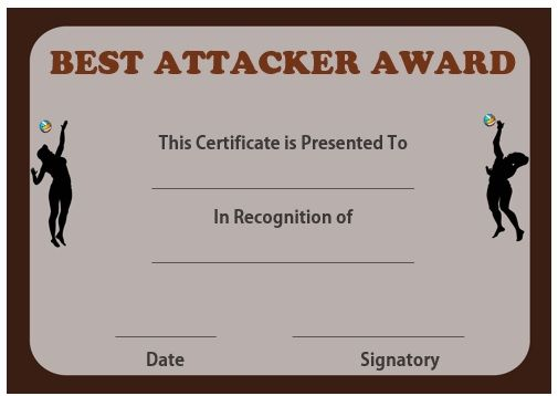Volleyball best attacker certificate Volleyball certificates free