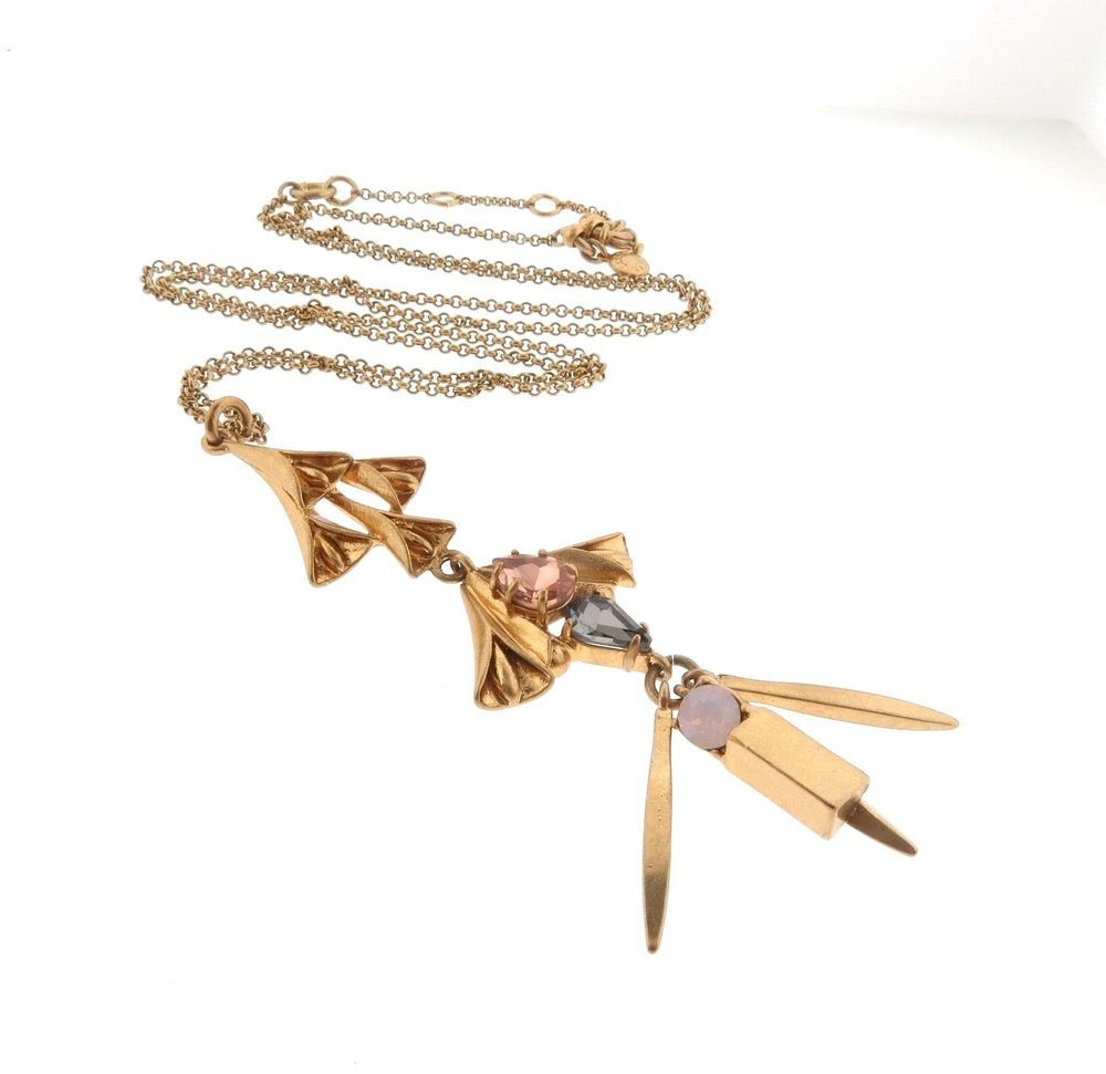 Details about j crew crystal art nouveau style pendant necklace