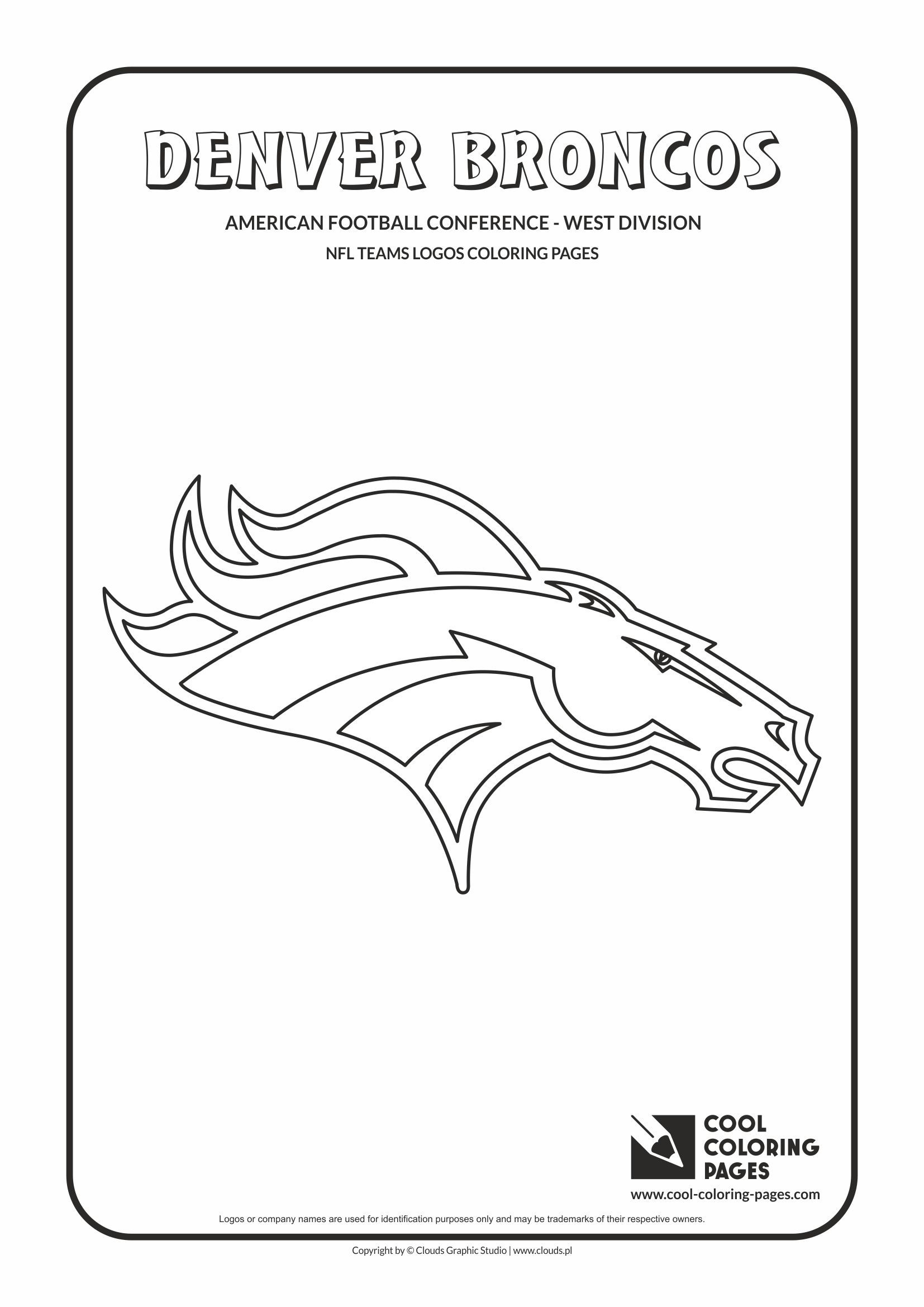 Denver Broncos Nfl American Football Teams Logos Coloring Pages
