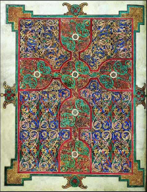 Ewangeliarz z Lindisfarne - ok. 700 r. - Krzyż ze splecionych ze sobą cielsk smoków i węży, wzornictwo odwołuje się do wzorów saskich