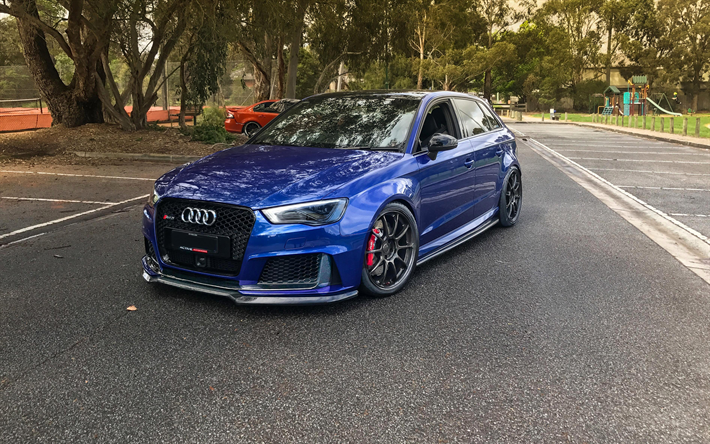 Download Wallpapers Audi Rs3 Sportback 4k Tuning Blue Rs3 Road