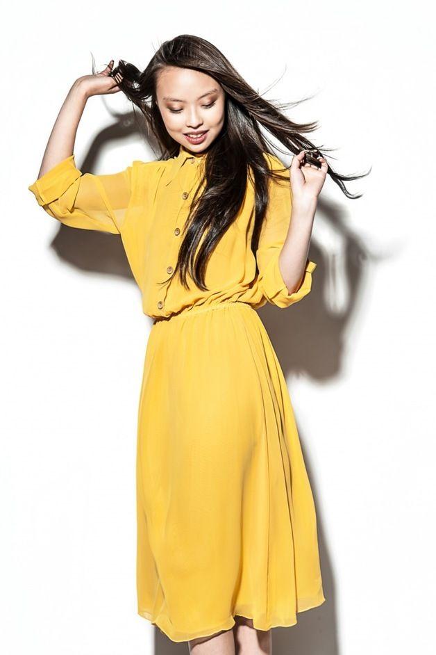 Gelbes kleid knielang