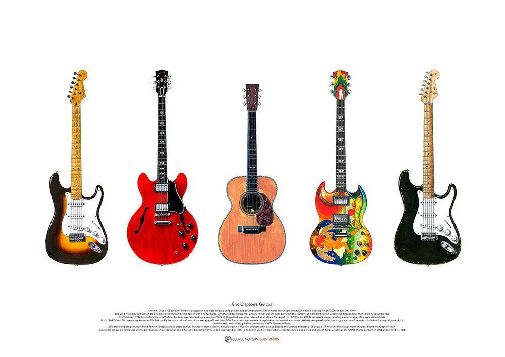 Kurt Cobain/'s Fender Mustang Custom guitar ART POSTER A2 size