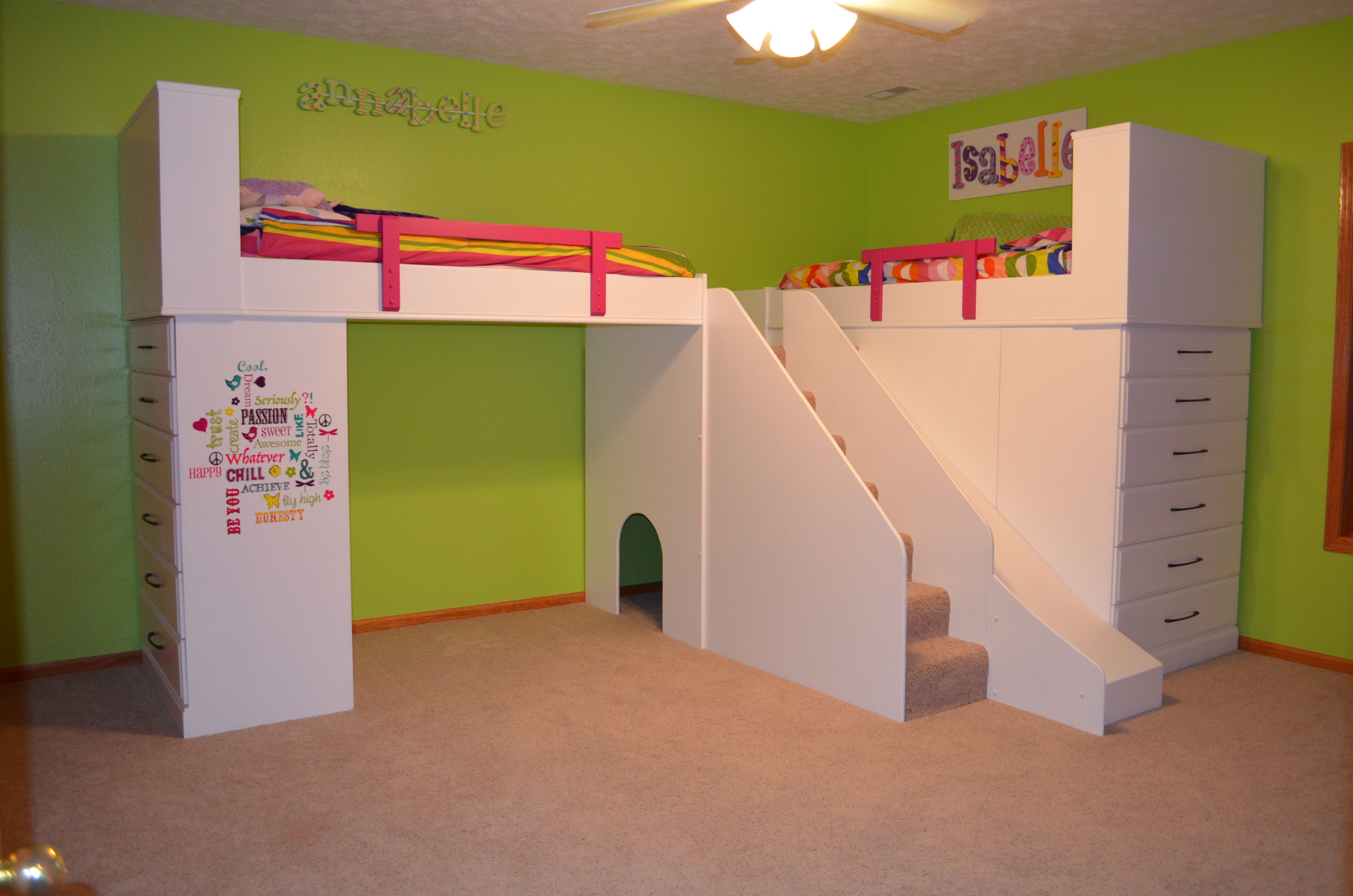 Girls loft bed with slide  Girls lofted beds with steps and slide and dressers under the