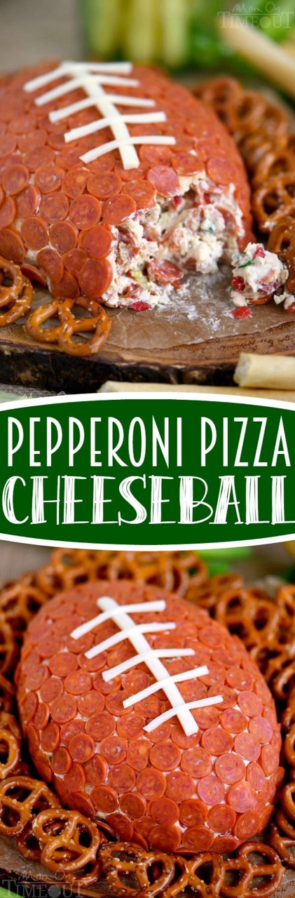 Pepperoni Pizza Football Cheese Ball    Print...  - The Cookin Mama A GAME DAY AND TAILGATING MUST HAVE!  Everyone will love this delicious game day/tailgating recipe