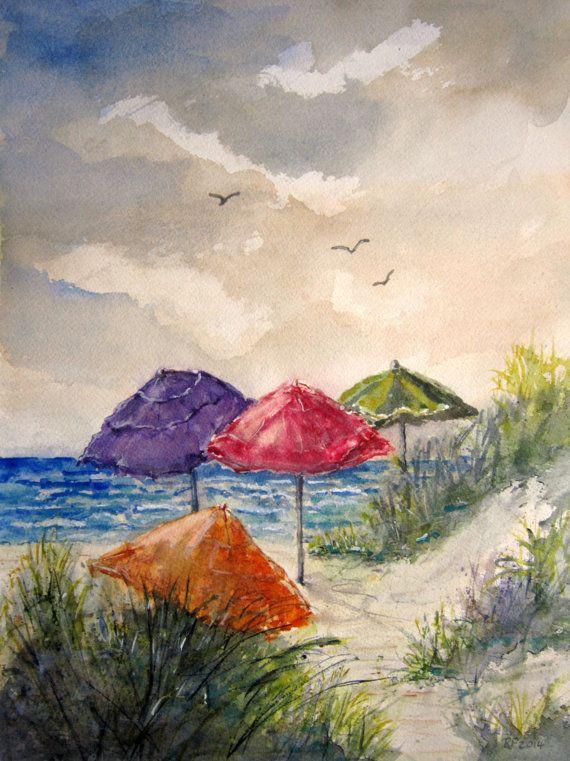 Beach Umbrella Print Of A Watercolor Seascape Painting Art Print Beach Art Beach Painting Landscape Ocean Painting Summer Painting Ocean Painting Seascape Paintings Summer Painting