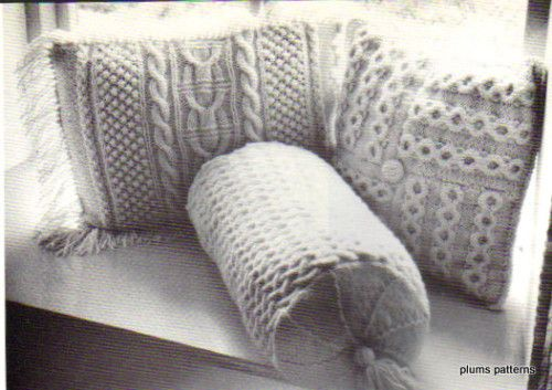 Vintage Aran Cushions and Bolster Pattern Trad.Stitches ...
