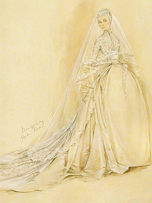 Grace Kelly - Helen Rose Sketch of Grace Kelly's wedding dress