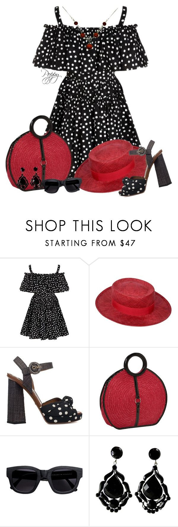 """Polka Dot Mini"" by bainbridgegal ❤ liked on Polyvore featuring Dolce&Gabbana, Chanel, Magid, Acne Studios and Goldmajor"