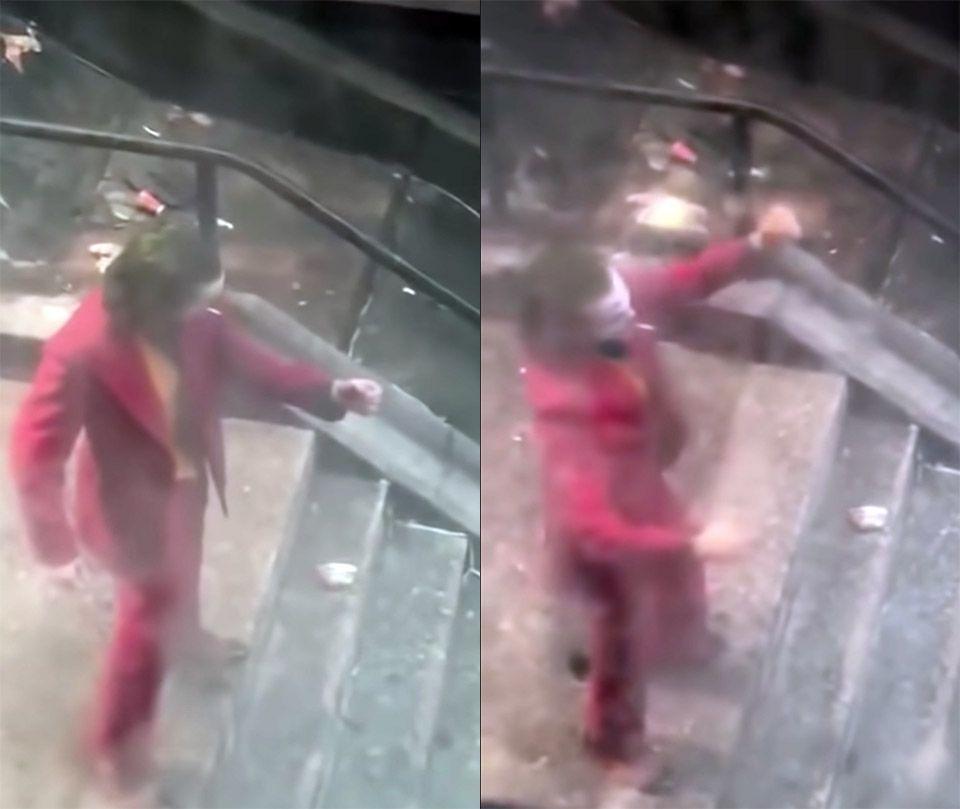 Movie fan films Joker stair dancing scene from a window