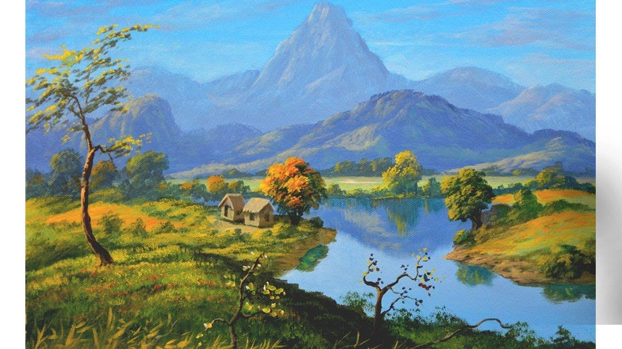 Landscape Painting Tutorial With Mountains River And Houses In