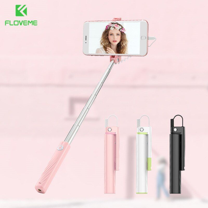Floveme selfie stick for iphone xs max xr xs x mini wired