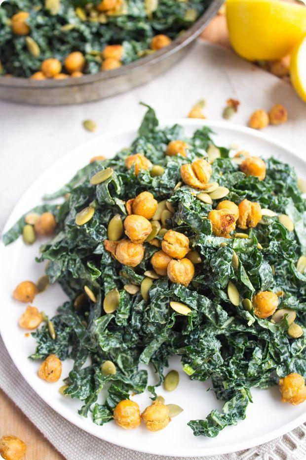 This vegan kale caesar salad tastes just like a classic caesar salad!