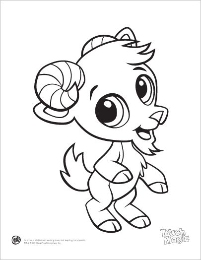 leap frog coloring pages - learning friends goat baby animal coloring printable from