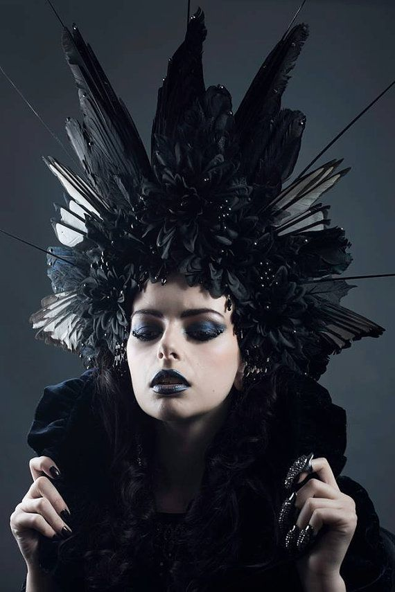 Huge Couture Gothic  Black Corvidae  Feather Headdress in 2019 ... cb1b3d5f54b