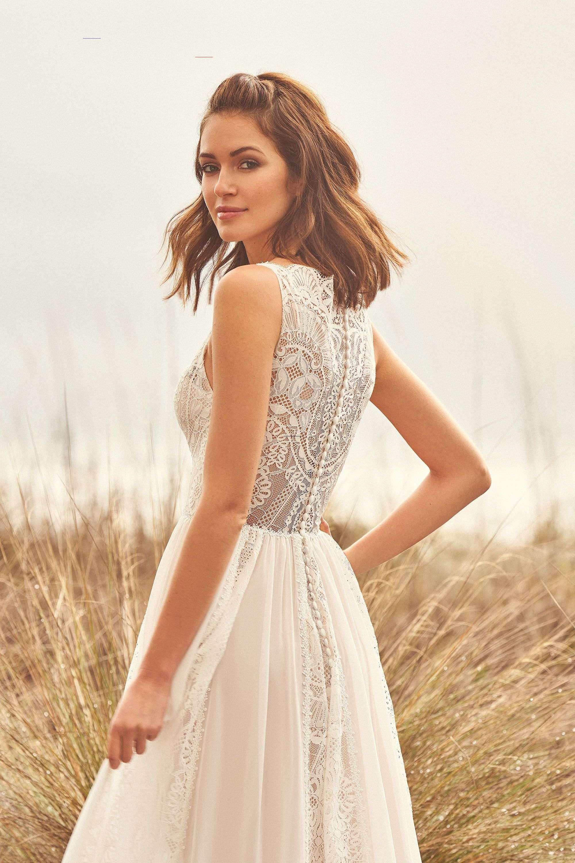 Stil 66109: A-Linie-Kleid aus Spitze und Chiffon-Panel ...