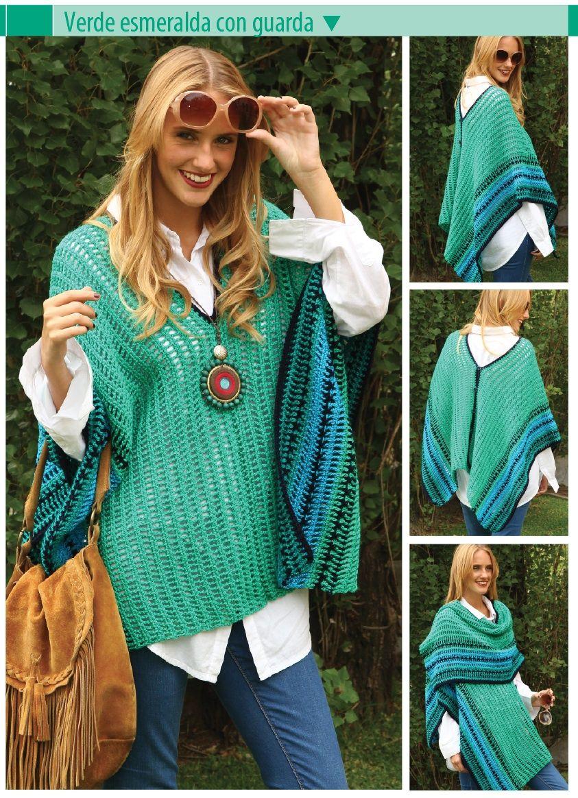 Poncho tipo ruana - Crochet Ponchos | tejido | Pinterest | Ponchos ...
