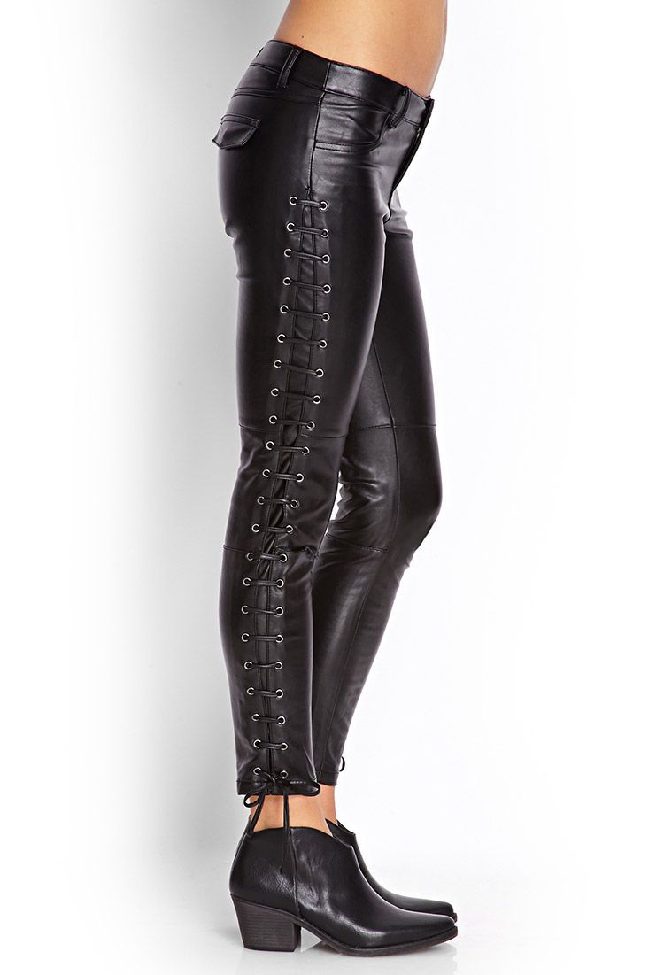 bcc0a77a60e Leather · Lace up leather · Faux Leather PantsLeather CorsetForever2121st FashionLace ...