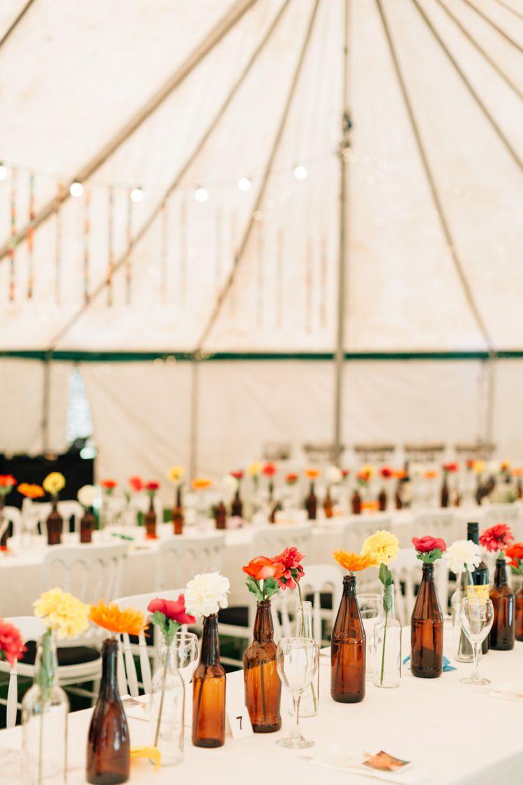 Bohemian Origami Marquee Wedding in Guernsey   Beer bottles, Wedding ...